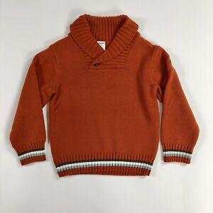 Gymboree-Boys-Burnt-Orange-Long-Sleeve-Button-Collar-Sweater-Size-XS-3-4