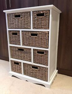 Image Is Loading White Brown Storage Unit Wicker Baskets Chest Of