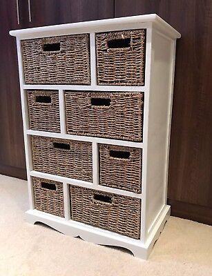 White Brown Storage Unit Wicker Baskets Chest Of Drawers Shabby Chic Bedroom | EBay
