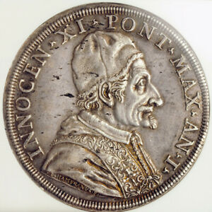 1676-Vatican-Pope-Innocent-XI-Silver-Piastra-80-Bolognini-Coin-NGC-AU-58