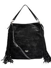 BRAND NEW W/ TAGS, Guess Black Suede Hobo Bag Gold Hardware & Black Fringe