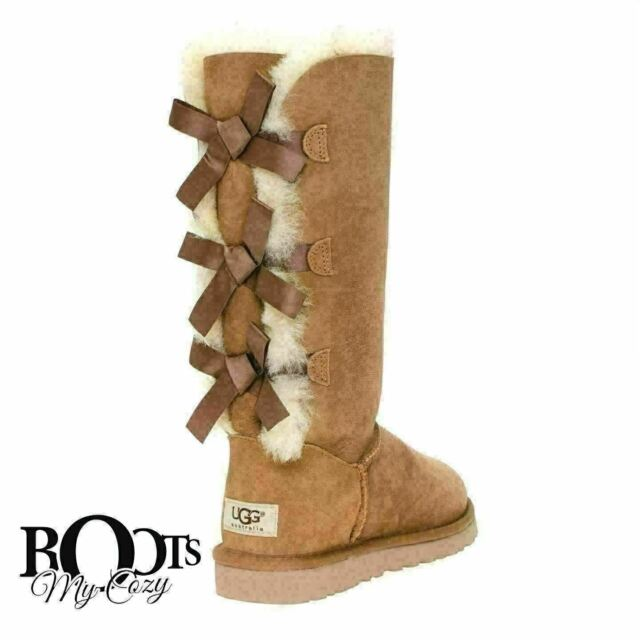 4059ae0b103 UGG BAILEY BOW TALL CHESTNUT TRIPLET SHEEPSKIN BOOTS SIZE YOUTH 5 FIT  WOMEN'S 7