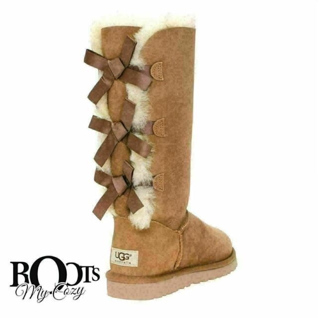 365537d2a42 UGG BAILEY BOW TALL CHESTNUT TRIPLET SHEEPSKIN BOOTS SIZE YOUTH 5 FIT  WOMEN'S 7