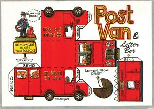 Vintage-Fun-Construction-Card-Postcard-Post-Van-amp-Letterbox-by-Fiddlers-Green
