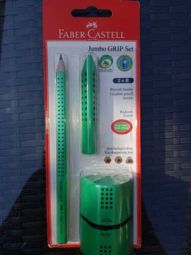 Schulset 3-teilig Jumbo Grip Set Grün NEU Faber-Castell 580090