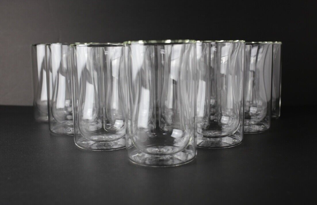 NEW 48pc Floating Glass Double Wall Cups, 7.5oz for Hot Tea or Coffee