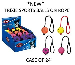NEW-CASE-OF-24-TRIXIE-FLOATING-FOAM-SPORTS-BALLS-ON-ROPE-DOG-PUPPY-TOYS-34591