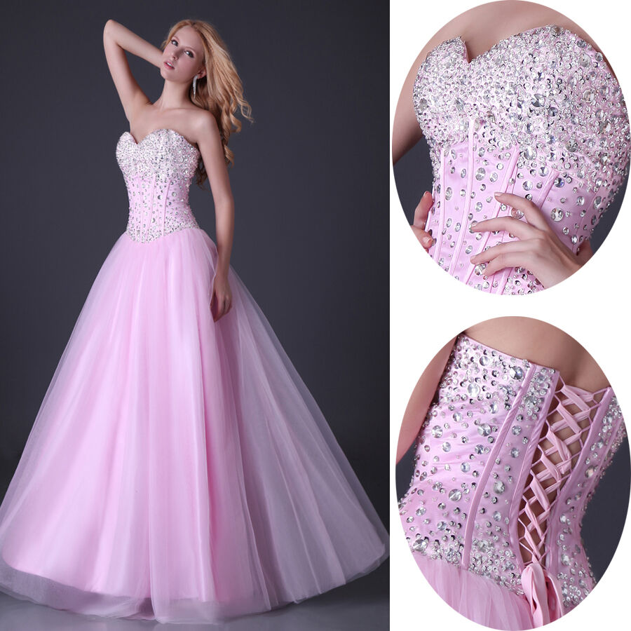 Grace Karin Ball Gown Wedding Formal Evening Prom Bridesmaid Dress Princess Pink