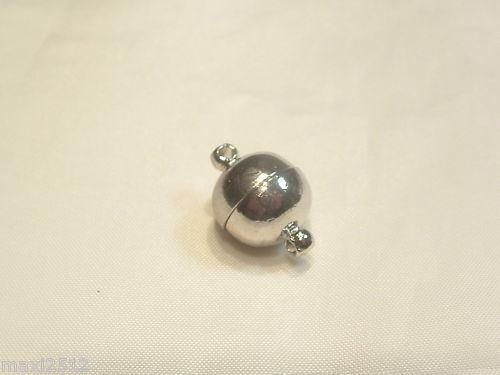 2 x silvertone plaqué en métal fermoir boule magnétique