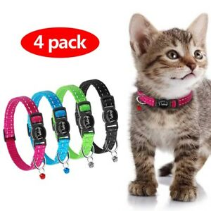 4pcs-Reflective-Puppy-Kitten-Cat-Breakaway-Collar-Safety-Quick-Release-with-Bell