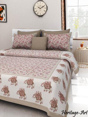 Handmade Indian Sanganeri Royal Look 100/% Cotton New Bed Sheet 2 Pillow Covers