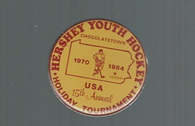 1970-84 Hershey Bears  ''15th Annual Tournament''  Minor PeeWee Hockey pin