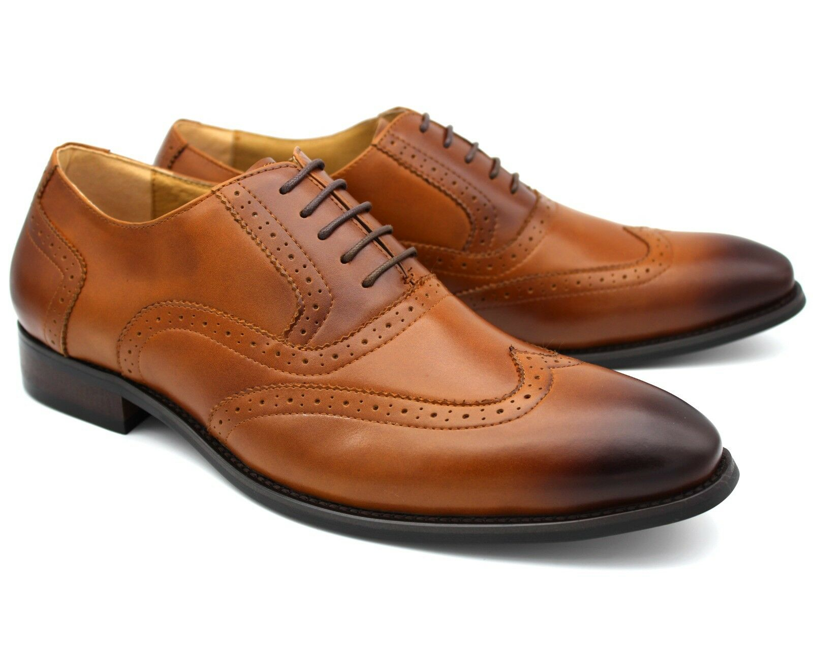 S15 NEW MEN'S TAN BROWN REAL LEATHER LACE UP SHOES SEMI BROGUES WORK