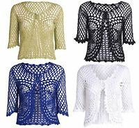 Womens Ladies 3/4 Sleeve Bolero Cropped Shrug Crochet Knitted Cardigan Top 8 16