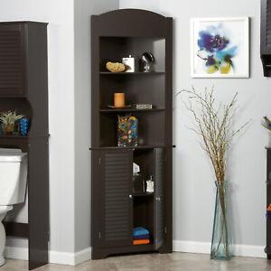 Details about Bathroom Storage Linen Cabinet Bedroom Living Room Corner  Cabinets Slim Wooden