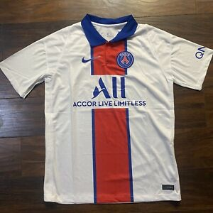 2020 21 Men S Paris Saint Germain Away Soccer Jersey Xxl Psg White Red Ebay