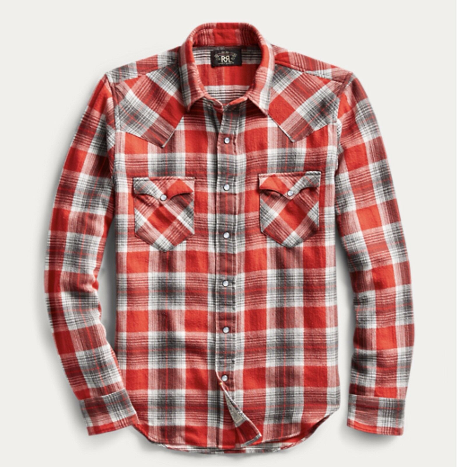 RRL Ralph Lauren Buffalo Plaid Brushed Cotton Western Shirt- XL