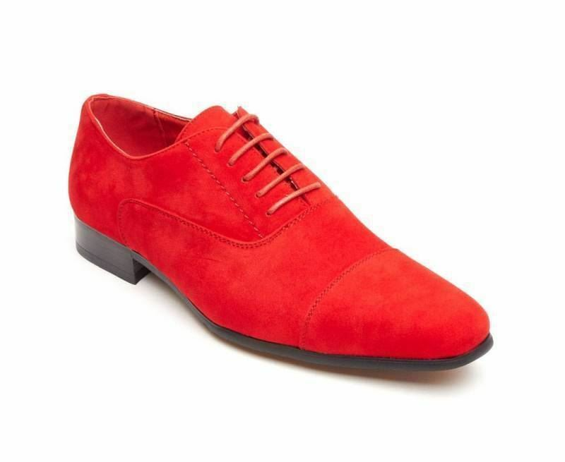 Rossellini Mario Mens schuhe rot Faux Suede Lace Up Pointed Casual schuhe