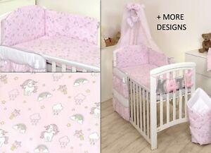3PCS Baby Bedding Set fit Cot 120x60 or Cot Bed140x70CM COT Bed 140X70, Blue Teddy Duvet Cover Bumper Pillow CASE
