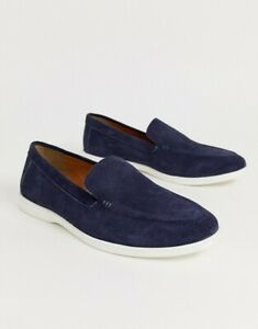 White Sole Slip On Suede Shoes Size UK