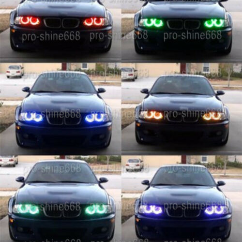 4X 7000K RGB LED Cotton Denon Angel Eyes Halo Rings Fit For Mazda 3 M3 04-2008