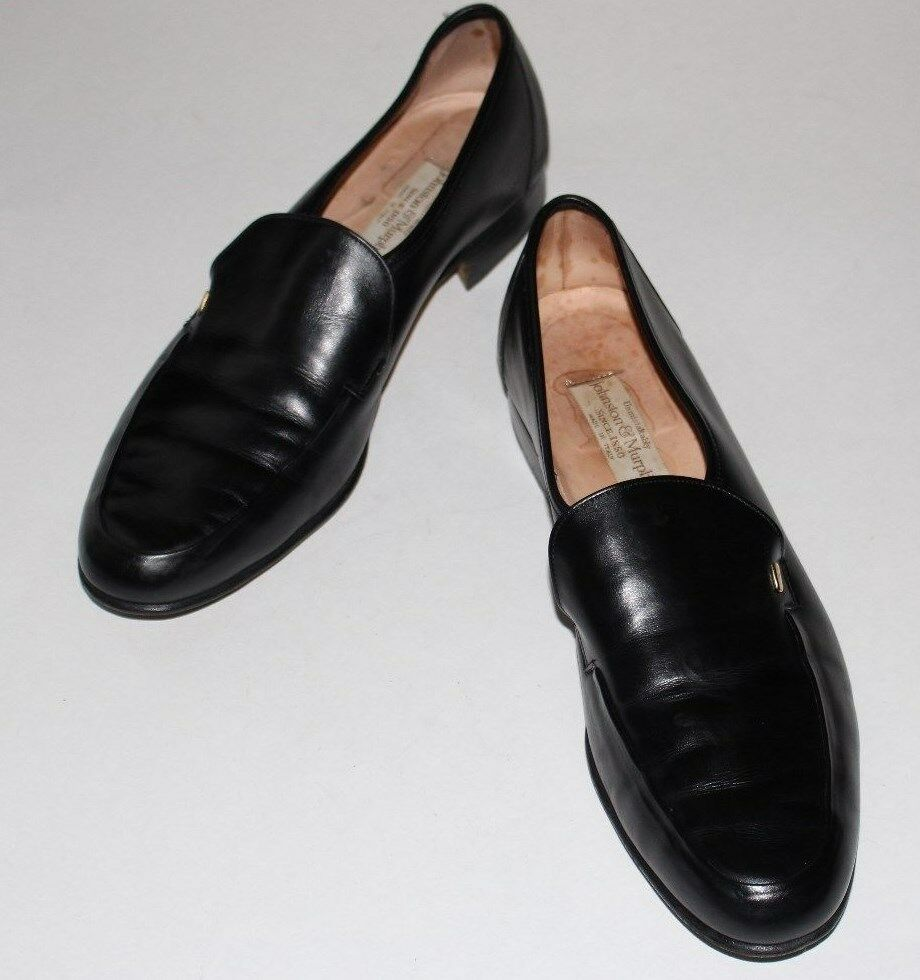 Johnston & Murphy 11 M Black Italian Calfskin Loafer Leather Outsoles