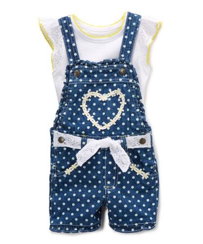 NWT Nannette Girls Heart Blue Shortalls Overalls Shirt Outfit Set Valentine/'s
