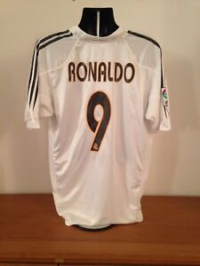 save off 70039 b98a6 Details about Real Madrid Home Shirt 2004/05 *RONALDO 9* XL Vintage Rare