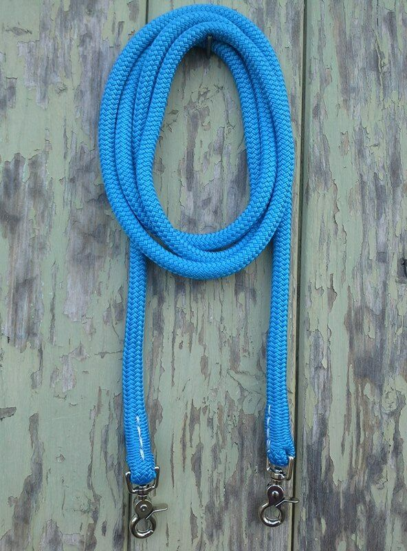 Clip On Rope Reins in bluee- Your choice of length & clip - by Natural Equipment