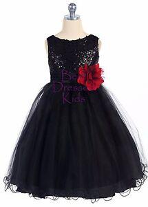 Girls Black Sequined Party Dress Tulle Skirt Lettuce Hem Size 5 6 7 8 10 12 14