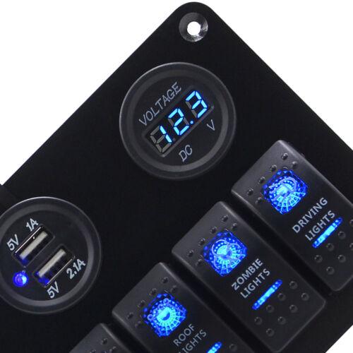 Waterproof 6 Gang LED Rocker Switch Panel Electrical Circuit Breaker Marine Boat