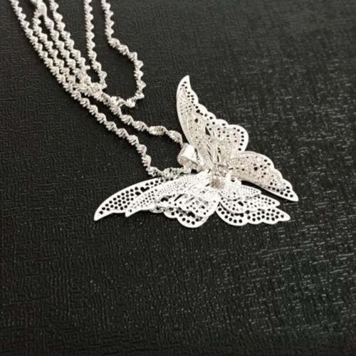 Femmes Lady Filles plaqué argent papillon collier pendentif bijoux cadeau Vente Chaude