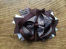 1 x 4.5 INCH BROWN GINGHAM SCHOOL COLOURS RING HAIR BOW ALIGATOR CLIP LOOK SALE