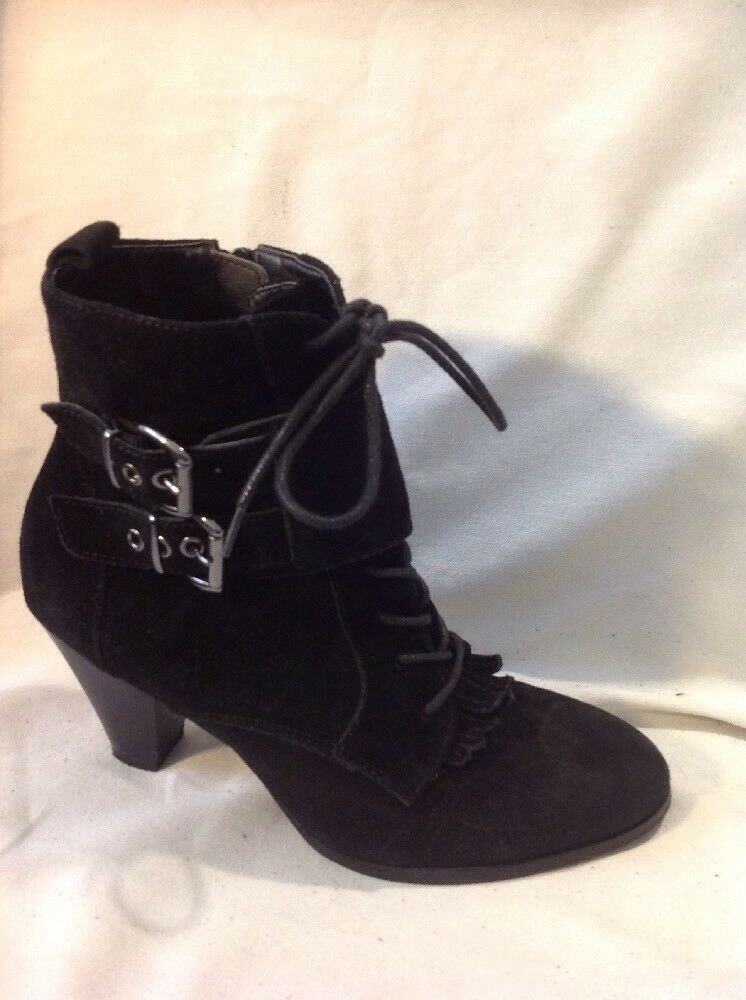 Limited Collection Black Ankle Suede Boots Size 6