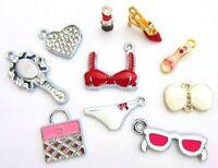 10 Lady/girl Crystal Rhinestone Silver/enamel Charm/bracelet/beading K-beauty