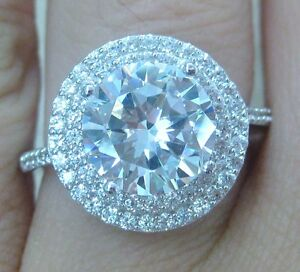 925 STERLING SILVER huge ROUND brilliant 2ct cz ENGAGEMENT ring J L N P R T V X