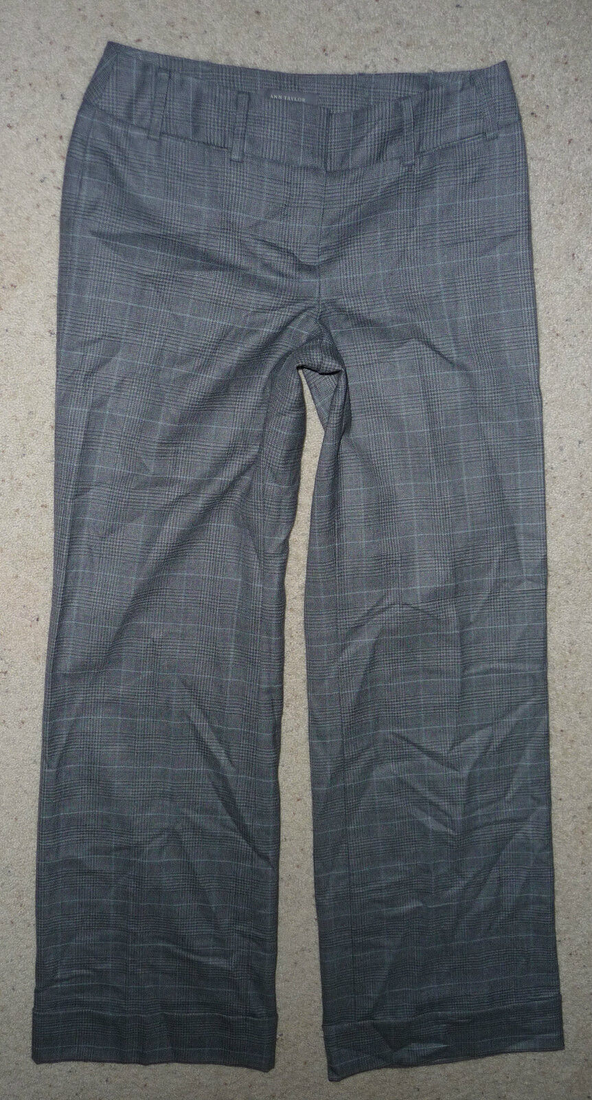Ann Taylor plaid wool lined trouser dress pants career casual Size 0 Lindsay Fit