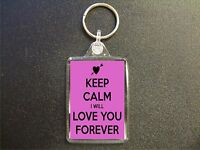 KEEP CALM I WILL LOVE YOU FOREVER PINK KEYRING GIFT BAG TAG VALENTINES GIFT