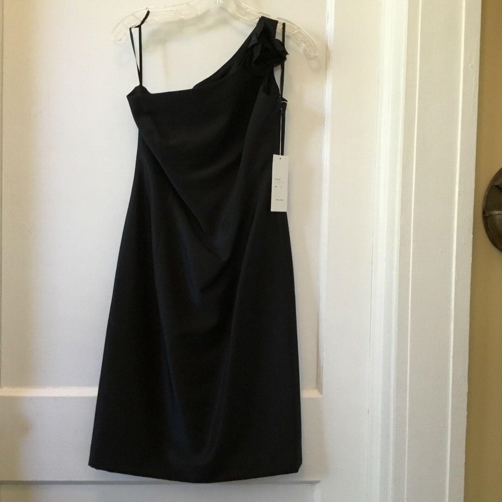 damen's Kay Unger One Shoulder schwarz 100% Silk Cocktail Dress Größe 4 NWTs