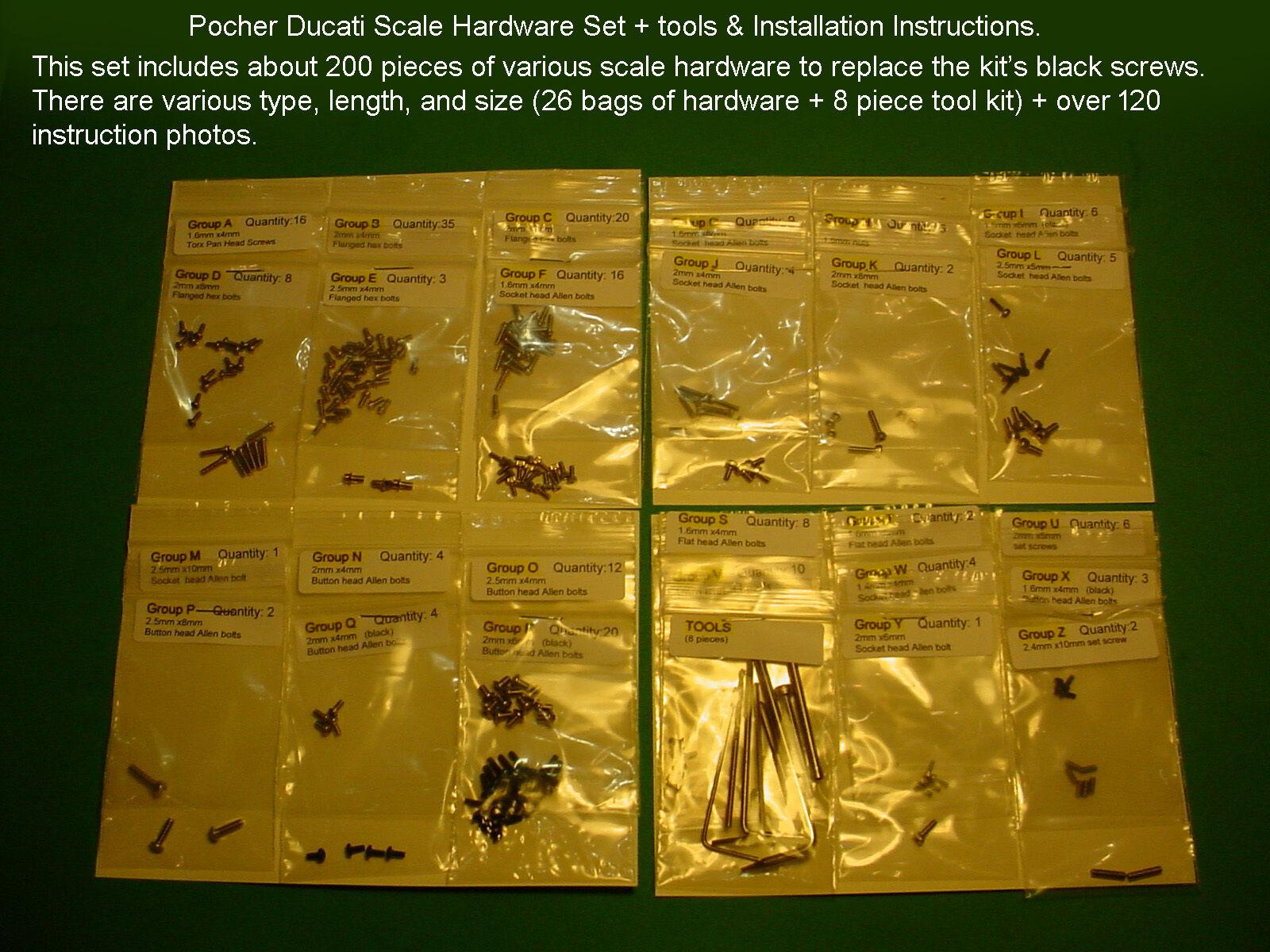 POCHER DUCATI 1299 PANIGALE S SCALE HARDWARE SET + TOOL KIT + INSTRUCTION PHOTOS