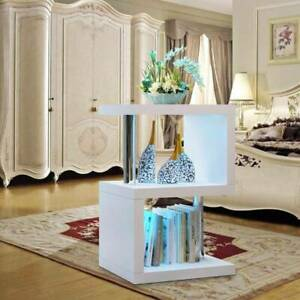 2 Tier Side Coffee Table With Led Light Living Room Decor White Home Decoration Ebay