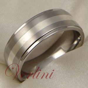 8mm mens titanium wedding band ring silver inlay brushed
