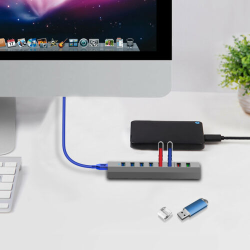 8-Port Type A Hub Data USB 3.0 USB C Hub Adapter Converter with Charging Port