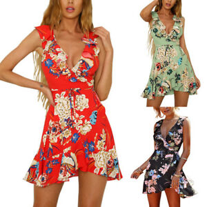 fab5316fe78 Women Falbala Dress Sexy Sleeveless Deep V-Neck Floral Print Casual ...