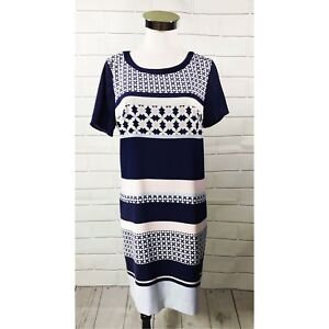 H-amp-M-Women-s-Short-Sleeve-Lined-Shirt-Shift-Dress-Size-8-Navy-Blue-Pink-White