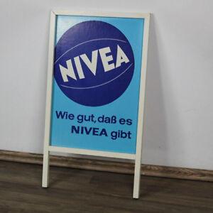 alter-Nivea-Creme-Aufsteller-Werbung-Ball-Holz-Plakat-Siebdruck-60er-70erVintage