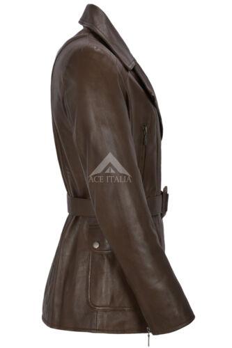 da lunghezza marrone Cappotto Napa Real in Giacca pelle invernale donna Trench media 222 di qXxEwvZY