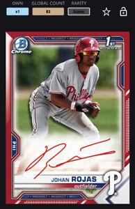 Topps MLB Bunt DIGITAL 2021 Bowman Chrome Red Signature Johan Rojas ICONIC