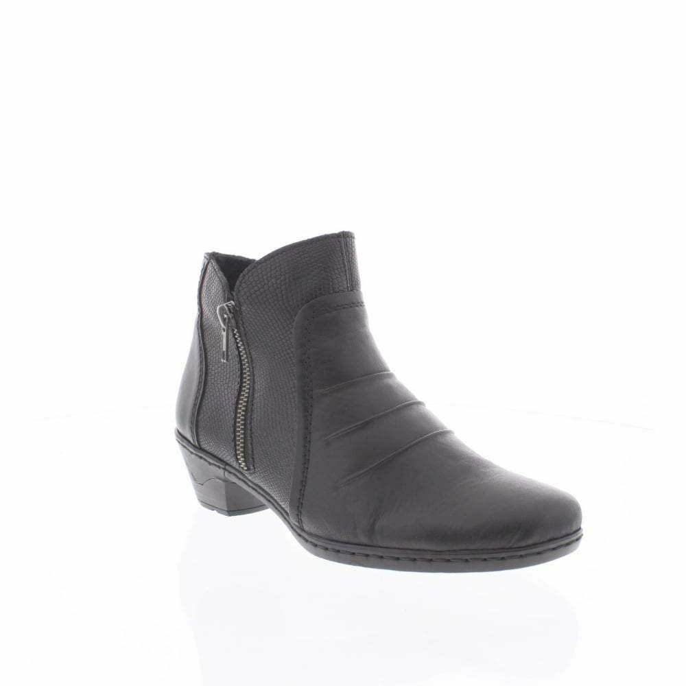Rieker 76962-00 Donna Nero Stivali Zip vendita