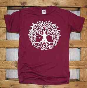 T-Shirt-manica-corta-Celtic-J318-Celtic-Tree-Foglie-Albero-della-Vita-Celtico
